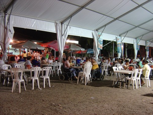 Inside the tent, early in the evening