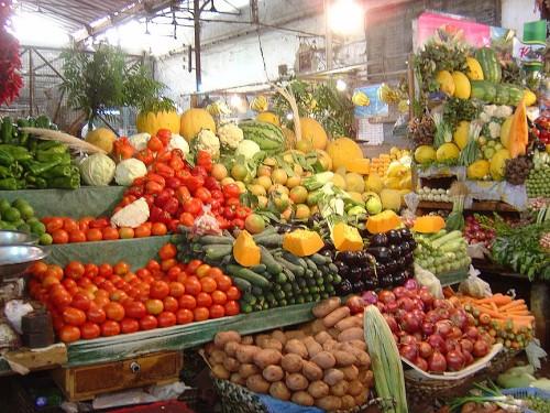 Inside the fruit large market