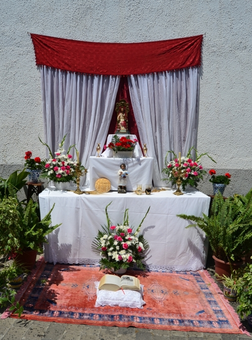 One of the Altars set up for the day on Calle Martin Recuerda